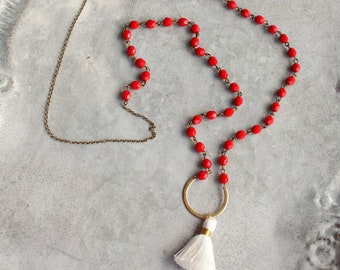 Red Necklace, White Tassel Necklace, Red Beads, White Tassel Long Necklace, Beaded Bohemian Tassel Necklace