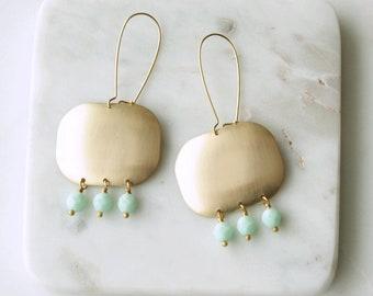 Aqua Bead Earrings, Long Chandelier Earrings, Aqua Blue, Brass Earrings, Geometric Earrings, Statement Earrings