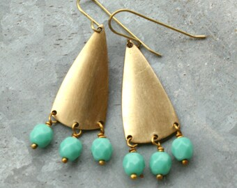 Beaded Chandelier Earrings with Turquoise Blue Beads, Long Earrings, Geometric