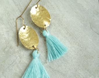 Aqua Tassel Earrings, Blue Tassel Earrings, Brass Tassel Earrings, Colorful Tassel Earrings