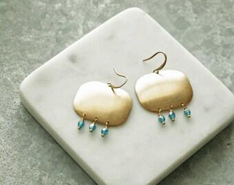 Beaded Chandelier Earrings,  Brass Geometric Earrings,  Brass Earrings, Statement Earrings, Fringe Earrings, Bead Fringe Chandelier Earrings