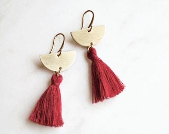 Wine Red Tassel Earrings,Half Moon Chandelier Tassel Earrings, Pink Fringe Earrings, Gold Tassel Earrings, Half Circle Earrings