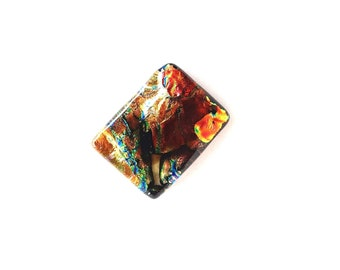 Dichroic Glass Gold, Brown, Red, Blue, Green Unique Rectangular Cabochon