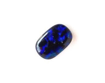 Dichroic Glass Royal Blue, Purple and Black Rounded Rectangular Cabochon