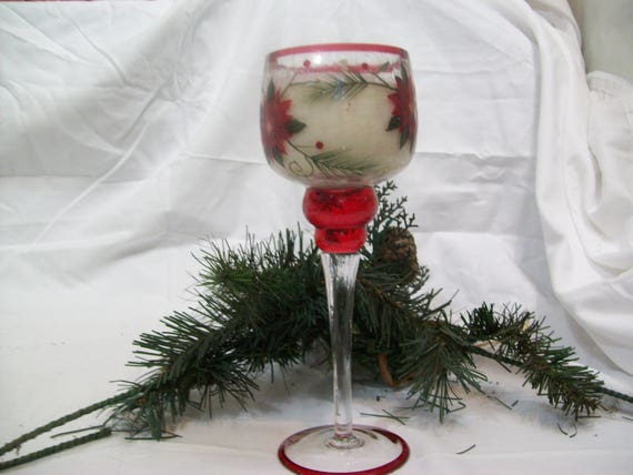 Christmas Candle, Cinnamon scented candle, candle in wine stemware, Candle in wine glass, soy based candle, candle with glitter