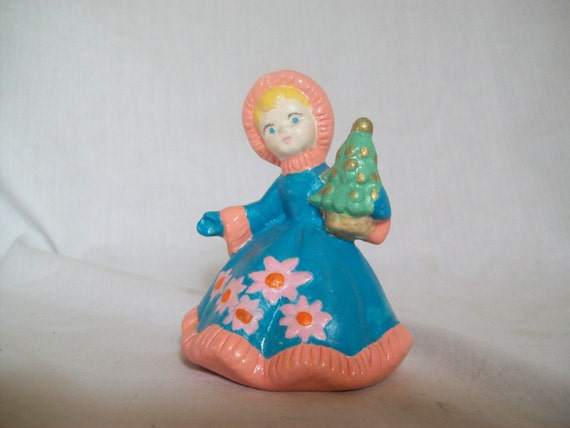 Christmas Girl, Christmas Figure, Girl Figurine, Blue, Pink figurine, Girl Holding Christmas Tree, Winter Figure, Ceramic, Gift, Girl Gift