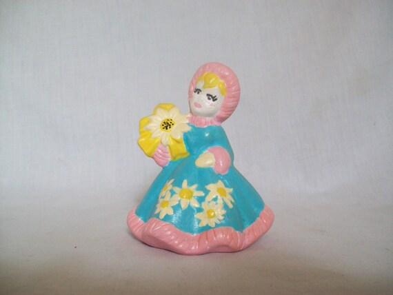 Christmas Girl, Holiday Girl, Winter Girl, Ceramic Girl, Ceramic Figure, Christmas Figure, Blue, Pink, Girl gift, Girl Decor, Holiday figure