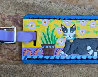 Luggage Tag with Black and White Cat