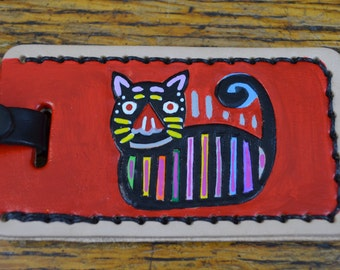 Luggage Tag with Mola Cat