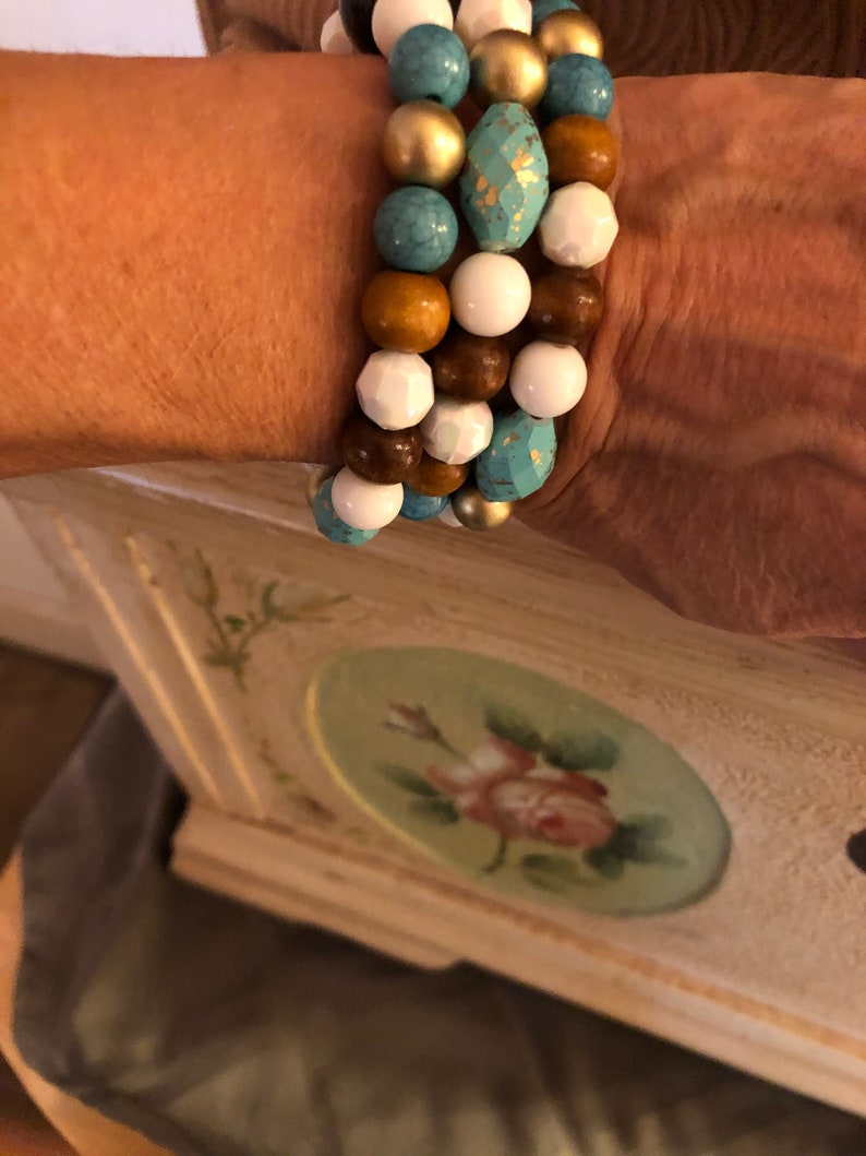 4 Piece Beaded Jewelry Set Necklace and Cinch Bracelets Earrings Turquoise Browns Gold \u201cBeads To Infinity\u201d