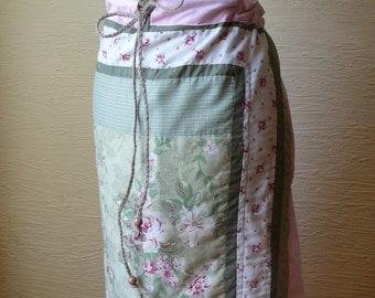 Flowered Skirt, Handmade Skirt, Recycled Pillowcase, Patchwork Skirt, Flowers, Pink Green, Unique Clothing, Long Skirt, Drawstring Waist