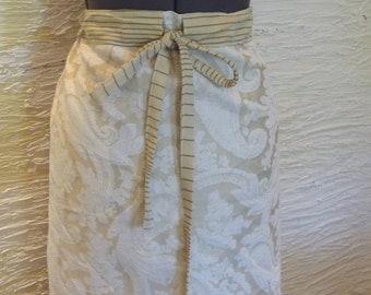 Beige Skirt, Handmade Skirt, Recycled Pillowcase, Unique Clothing, Large XLarge, Paisley Skirt, Stripe Skirt, Upcycled Pillowcase,Pretty