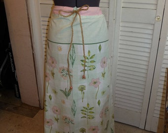 Handmade Skirt, Long Skirt, Upcycled Pillowcase, Unique Clothing, Recycled Fabrics, Drawstring Waist, Beads, Flowered Skirt, Pink Skirt,Cute