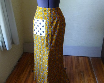 Long Fitted Brown Skirt, UpCycled Skirt, Handmade Polkadot Pocket, Unique Clothing, Zipper, Unique Style,Extra Small,Lined Skirt,Dark Orange