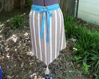 Upcycled Clothing, Skirt, Window Valance Skirt, Tassel, Stripe Skirt, Aqua Skirt, Unique Clothing, Drawstring Waist,High Low Skirt,Refashion