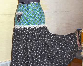 Upcycled Skirt, Long Skirt, Handmade Skirt, Polka Dots, Small Size, Unique Clothing, Lace Trim, Pocket, Recycled Fabrics, Zipper, Refashion