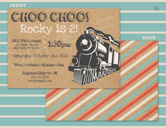 Zug Party Einladung Retro Eisenbahn Zug Geburtstag Etsy