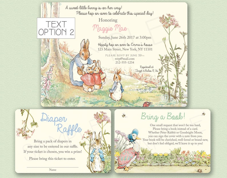Peter Rabbit Baby Shower Invitation Peter Rabbit Invitation Etsy