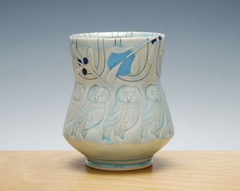 Owl Yunomi in Frost gloss w. Sky & Navy polka dots and detail, Handmade ceramic cup, Victorian modern