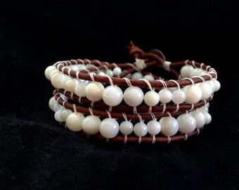 Pure White Leather Beaded Wrap Bracelet