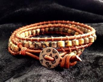 Tiger's Eye Leather Beaded Wrap Bracelet