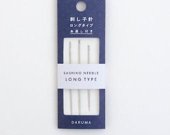 Daruma Long Sashiko Needles hand sewing Japanese big stitch w/ threader