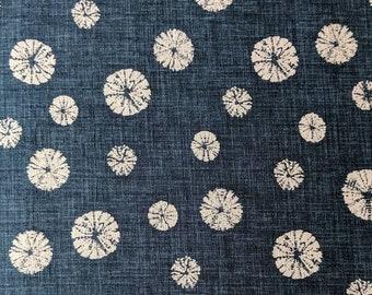 Morikiku Sand Dollars in navy blue and beige Japanese cotton dobby M-18000-A22 shibori print