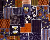 Japanese Patchwork Owls and Bunnies Japanese Cotton Fabric 1319W-4C purple