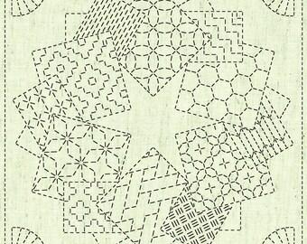 Season/'s Greetings QH Textiles Sashiko Fukin Japanese cotton sashiko sampler cloth KF2020-16 beige greige
