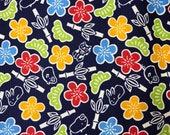 SALE Sevenberry blue pine plum bamboo rabbit pig Lucky Cat Japanese dobby cotton fabric