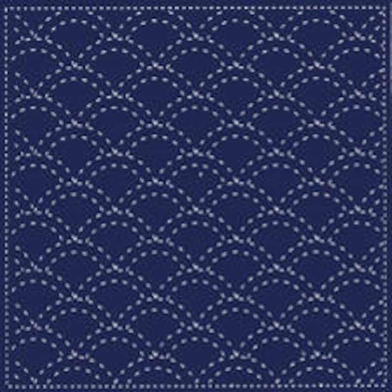 Yokota Seigaiha Waves Sashiko Fukin Japanese cotton sashiko sampler kit NAVY BLUE 843S-201