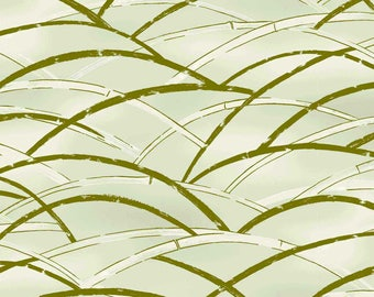 Quilt Gate Hyakka Ryoran TORA bamboo grass in cream and gold cotton fabric HR3240-12A