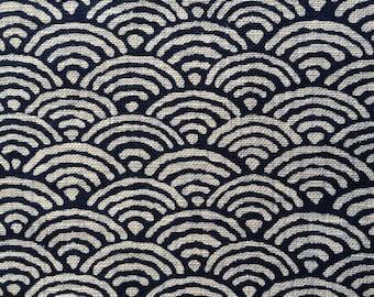Sevenberry waves seigaiha navy indigo blue Japanese cotton fabric 青海波 88223-4