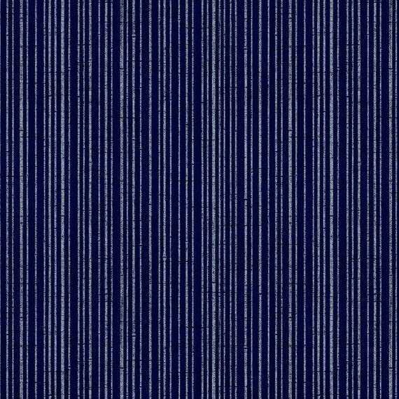 Quilt Gate Hyakka Ryoran Tora Bamboo Stripe In Navy Blue And Etsy