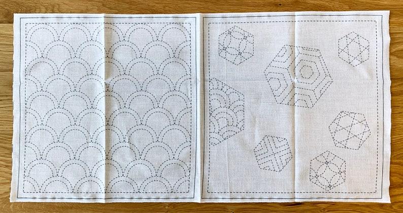 Seigaiha /& Hexies hana fukin towel sashiko sampler 100/% cotton washout design SW380-2C