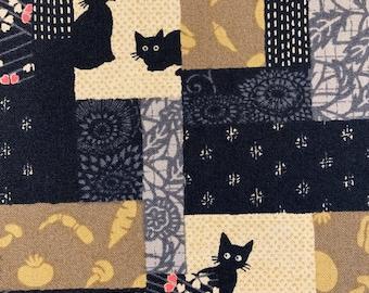 Patchwork Black Cats Japanese Cotton Fabric 2319-W 1-D black