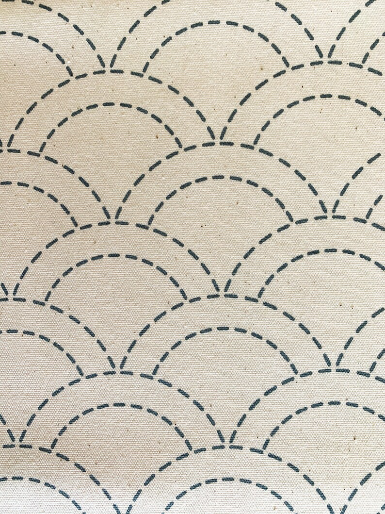 Waves pre-printed Japanese Sashiko cotton fabric 103-C ivory image 1