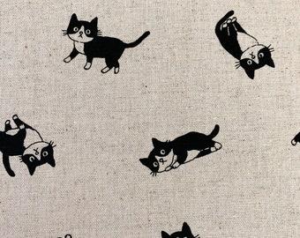 Tuxedo Kitties Japanese cotton linen canvas H-7042-2A beige