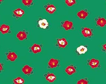 Quilt Gate Hyakka Ryoran Modern Movement 2 collection Camellia in green, red, and gold cotton fabric HR3230-14C