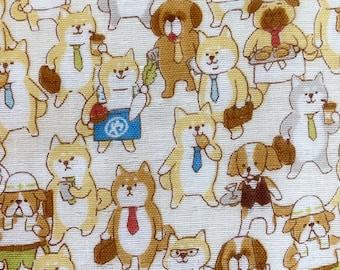Dog Feed Dog World Japanese double gauze cotton fabric Cosmo AP11403-2A cream half yard