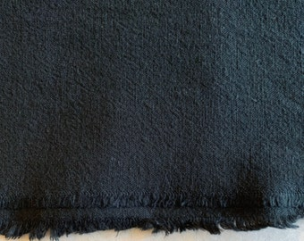 Cosmo jet black Japanese cotton linen blend canvas fabric AD5188-300