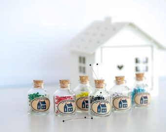 Little House Pin Jar Japanese glass head pins choose your color