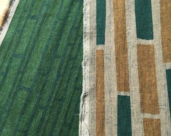 Hokkoh double print Japanese cotton fabric green and yellow modern block