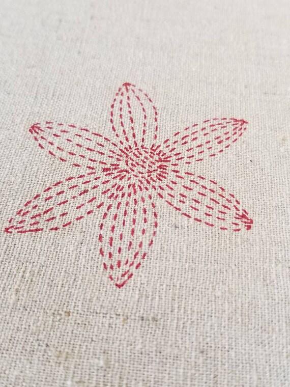 Sashiko Flower print in Navy Blue on Natural Japanese Cotton Linen Blend