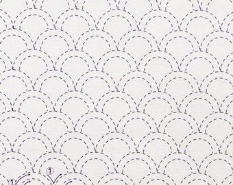 Olympus #7 Japanese sashiko cotton fabric Seigaiha Waves WHITE