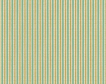 Quilt Gate Hyakka Ryoran Modern Movement collection stripe in cream, mint, and gold cotton fabric HR3130-16A