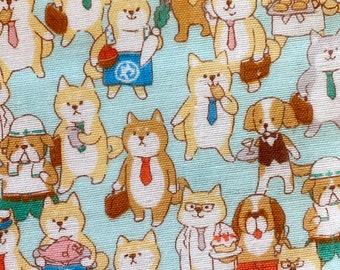 Dog Feed Dog World Japanese double gauze cotton fabric Cosmo AP11403-2D green half yard