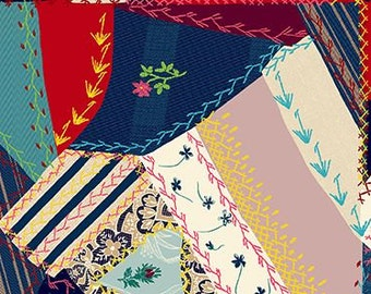 SALE: Quilt Gate Tick Tack Piecework in red, blue, lavender, and white cotton fabric TT1910-13C