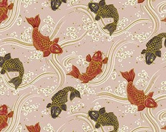 Quilt Gate Hyakka Ryoran KOI fish in pink and gold cotton fabric HR3250-13C