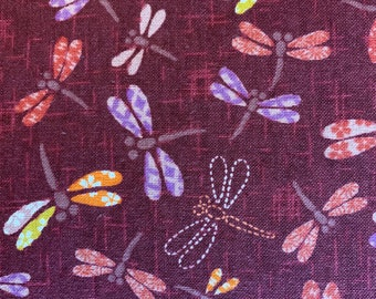 Patchwork Dragonflies Sevenberry  Japanese cotton fabric 83033-1-3 red